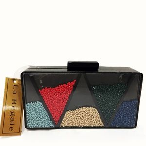 NWT La Regale Shake it Multi Color Triangle Clutch